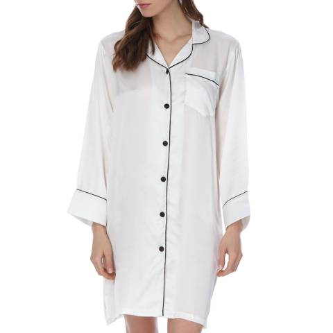 Laycuna London Ivory/Black Silk Night Shirt