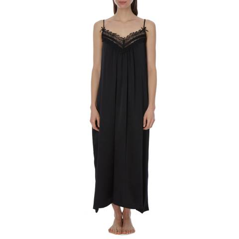 Laycuna London Black Silk Maxi Night Dress