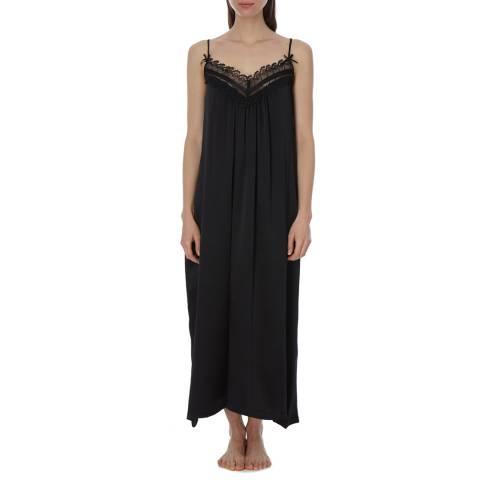 Laycuna London Black Silk Maxi Night Dress