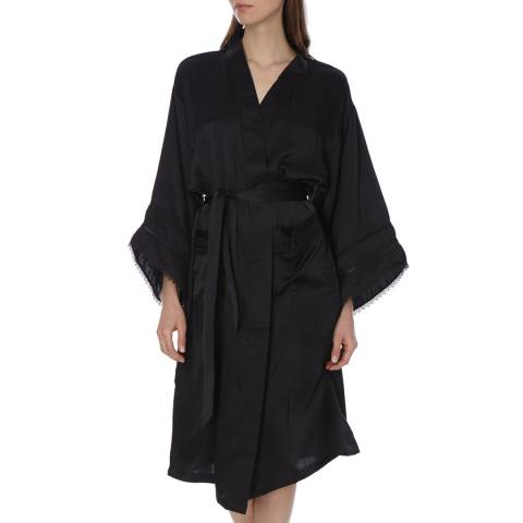 Laycuna London Black Silk Lace Kimono Dressing Gown