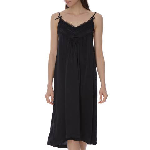 Laycuna London Black Silk Night Dress