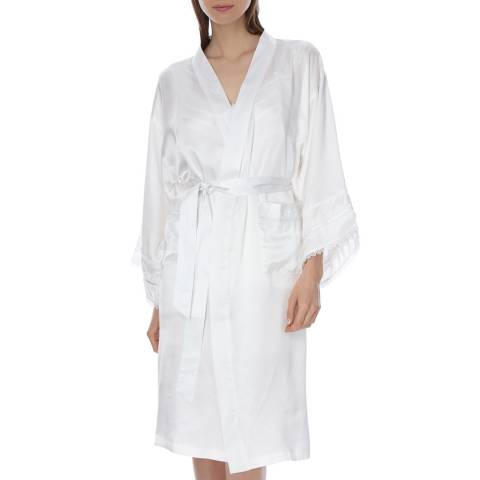 Laycuna London Ivory Silk Kimono Dressing Gown