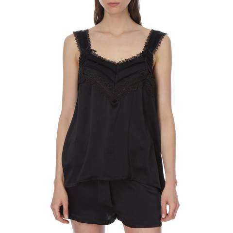 Laycuna London Black Silk Short Pj Set