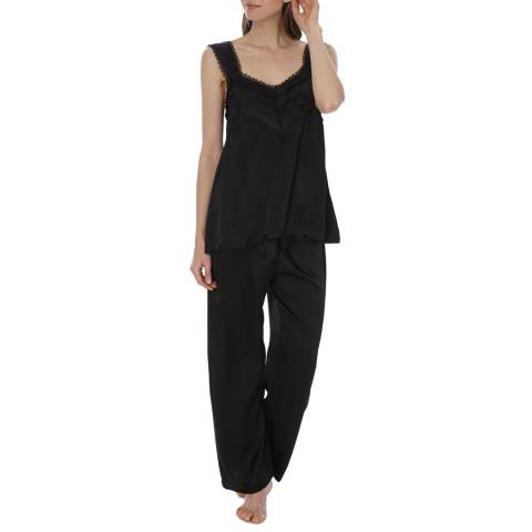 Laycuna London Black Silk Lace Pj Set