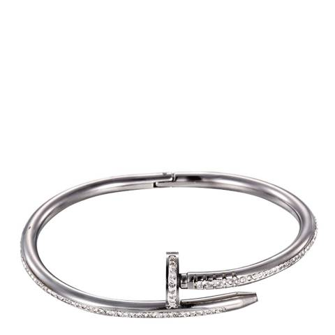 Chloe Collection by Liv Oliver Silver Embellished Nail Head Bangle