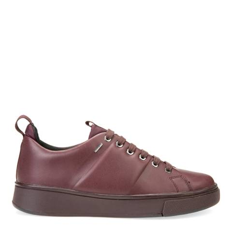 Geox Women's Burgundy Leather Lace Up Sneakers