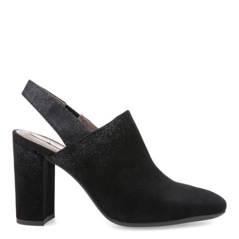 Geox Ladies Black Suede Glitter Smyphony Sling Back Heels
