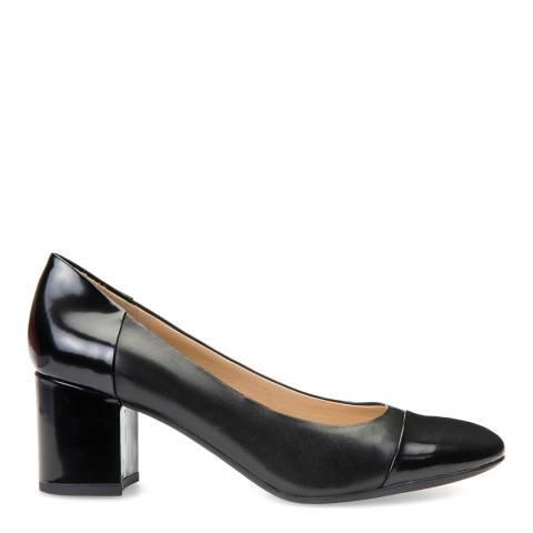 Geox Ladies Black Leather And Patent Symphony Mid Heels