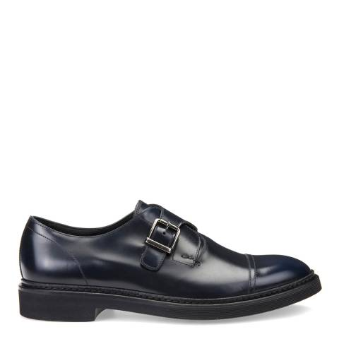 Geox Men's Navy Leather Monk Strap Shoes