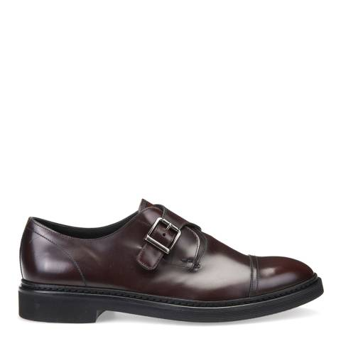 Geox Men's Burgundy Leather Monk Strap Shoes