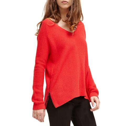 Charli Tango Red Juliette V Neck Jumper