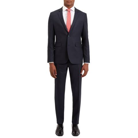 Jaeger Midnight Navy Melange Birdseye Slim Wool Blend Suit