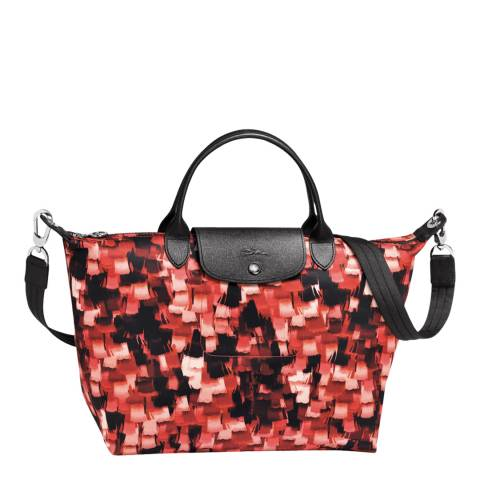 Longchamp Red Le Pliage Neo Graphic Print Canvas Handbag