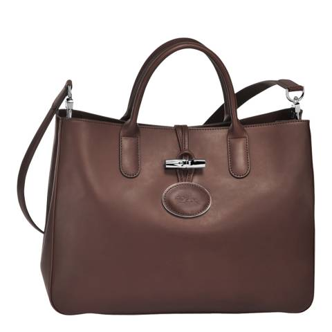 Longchamp Chocolate Roseau Heritage Leather Tote Bag