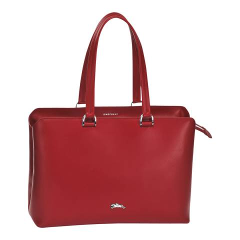 Longchamp Red Honore 404 Leather Tote Bag
