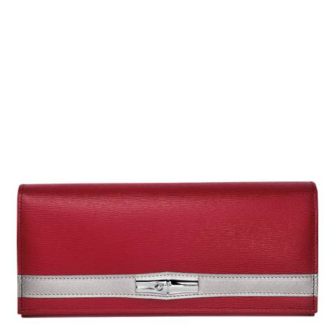Longchamp Red Roseau Bamboo Long Leather Wallet