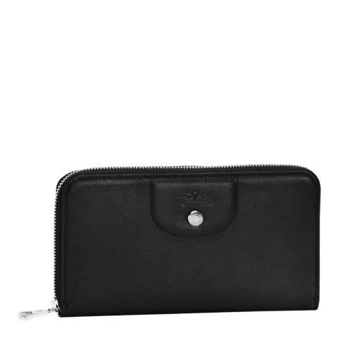 Longchamp Black Le Pliage Long Zip Around Leather Wallet