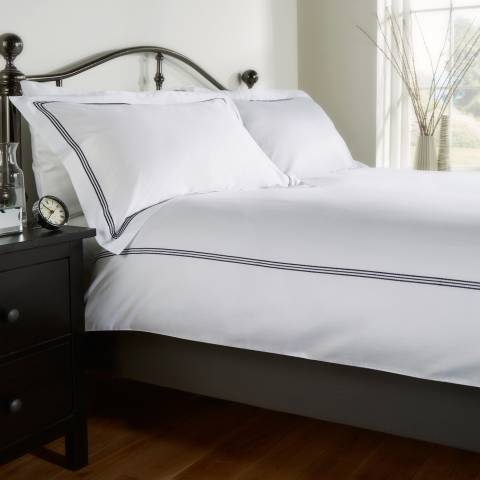 Behrens Bloomsbury Super King Duvet Cover Set, White/Navy