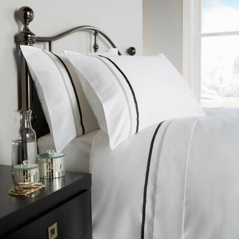 Behrens Kensington Super King Duvet Cover Set, White/Grey