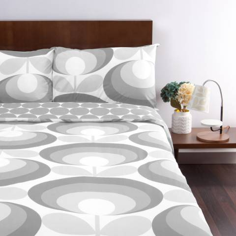 Orla Kiely Grey 70s Oval Flower Single Duvet Cover