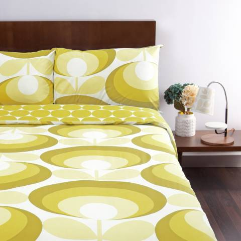 Orla Kiely Pair of Yellow 70s Oval Flower Pillowcases