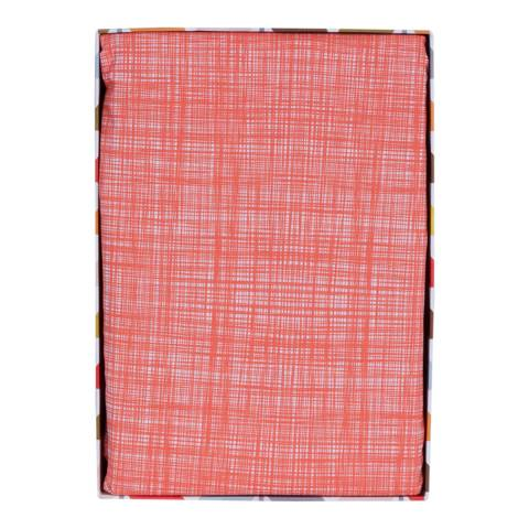 Orla Kiely Persimmon Red Double Fitted Sheet Scribble Stem Design