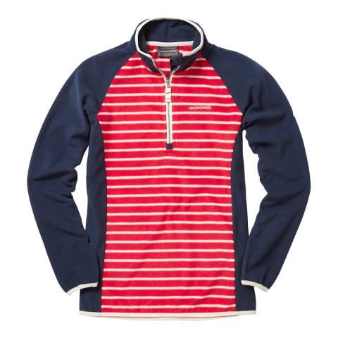 Craghoppers Red/Navy Stripe Tille Half Zip Fleece