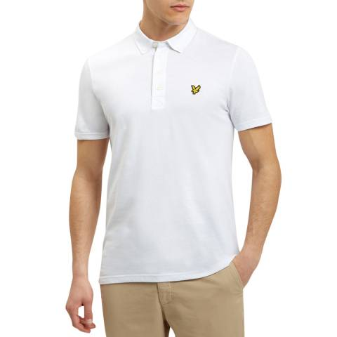 Lyle & Scott White Woven Collar Cotton Polo Shirt