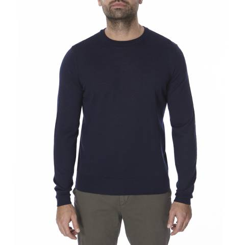 Bagutta Navy Crew Neck Wool Blend Jumper