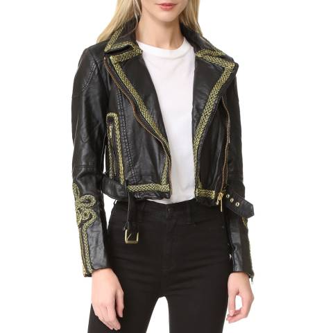 Free People Black Bang Bang Vegan Jacket