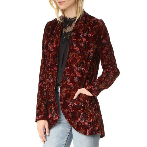 Free People Wine Crinkle Velvet Slouch Jacket