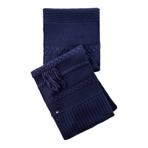 UGG Navy Cable Knit Fringed Scarf