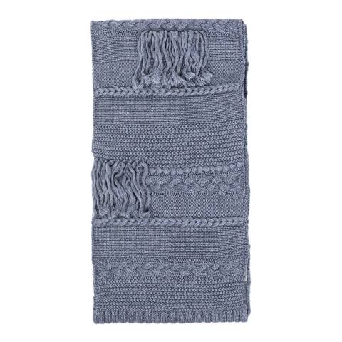 UGG Steel Grey Cable Knit Fringed Scarf
