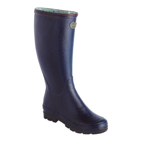 Le Chameau Women's Blue Giverny Kew Neoprene Lined Wellington Boots