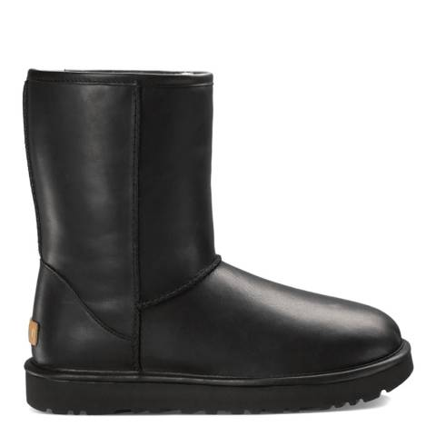 UGG Black Leather Classic Short Cashmere Mid Boot
