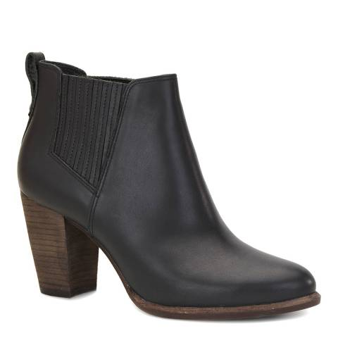 UGG Black Leather Poppy Ankle Boot