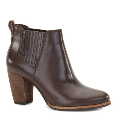 UGG Dark Brown Leather Poppy Ankle Boot