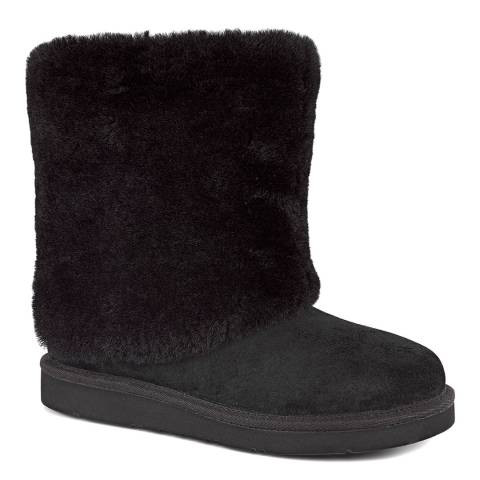 UGG Black Suede Patten Mid Sheep Boot
