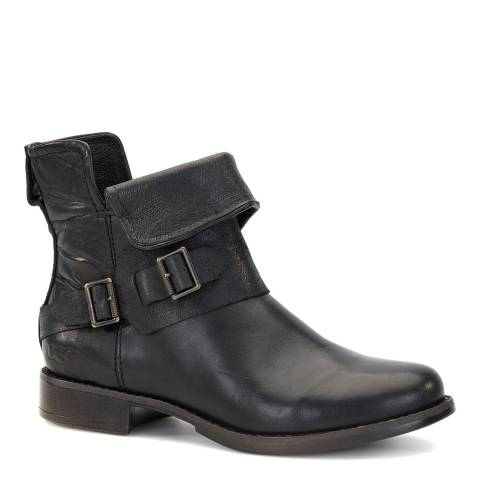 UGG Black Leather Cybele Ankle Boot