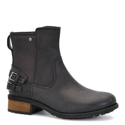 UGG Black Leather Orion Flat Utility Boot