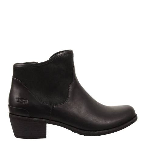 UGG Black Leather Penelope Flat Ankle Boots