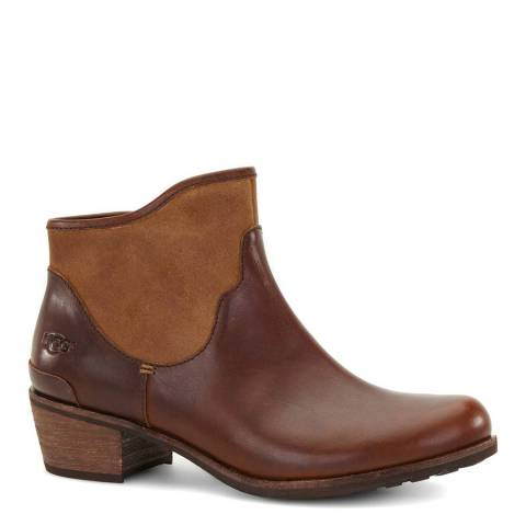 UGG Brown Leather Penelope Flat Ankle Boot