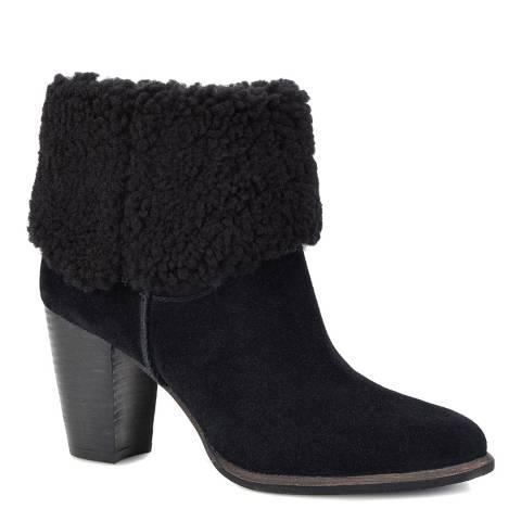 UGG Black Suede Charlee Heeled Sheep Boot