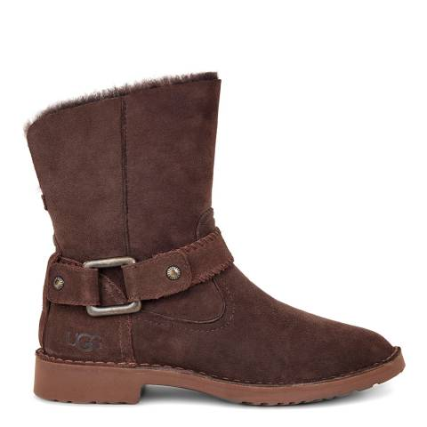 UGG Chocolate Suede Cedric Sheepskin Lined Boot