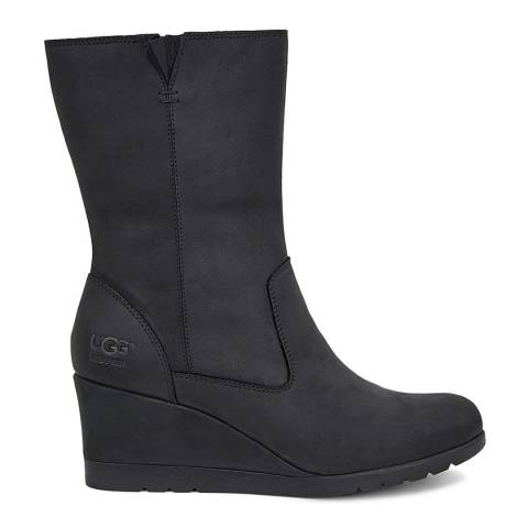 UGG Black Suede Joley Wedge Ankle Boot