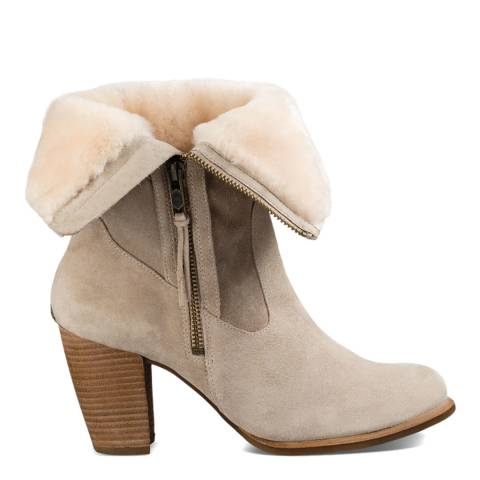 UGG Cream Suede Lynda Sheekskin Lined Boot