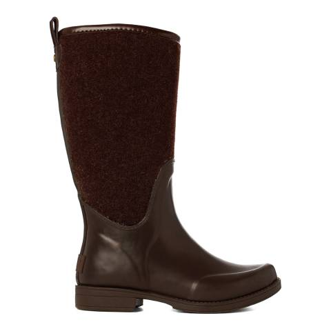 UGG Brown Rubber And Felt Reignfall Wellie