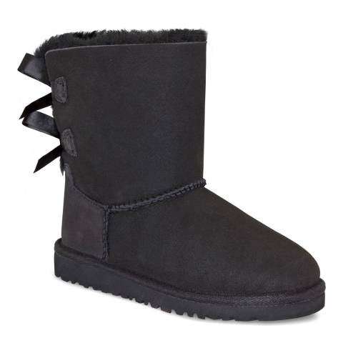 UGG Toddler's Black Bailey Bow Suede Booties
