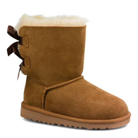 UGG Toddler's Chestnut Bailey Bow Suede Booties