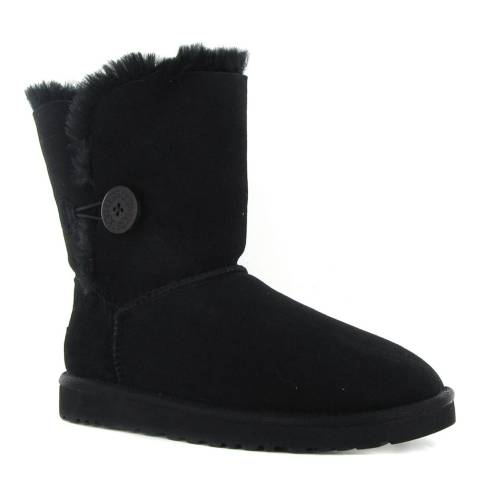UGG Toddler's Black Bailey Button Suede Booties